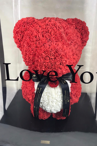 EVERLASTING ROSE TEDDY WITH HEART 0
