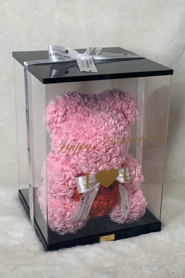 EVERLASTING ROSE TEDDY SITTING TEDDY WITH HEART 0